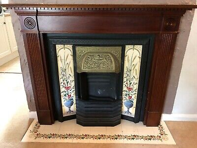 Cast Iron Victorian Fireplace Insert, Feature Tiles. Includes Mantelpiece