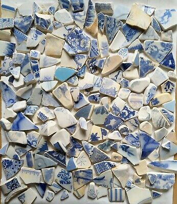 CRAFTS Vintage Original SEA Finds Blue And White Pottery Shards Small Over 120