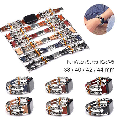 1PC Retro Watch Band Alloy Leather Wristband For apple iWatch Series 1/2/3/4/5