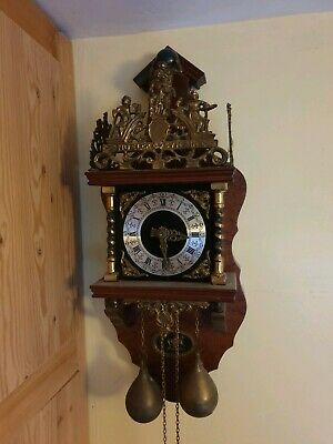 Antique Vintage Dutch ? Solid Brass Twin Weight Wall Mountable Clock Working...