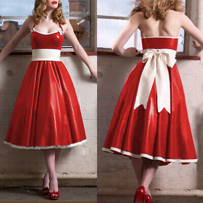 Latex Rubber Dress Kleid Sling 100% Gummi Weiß Rot Sexy Ruffle Skirt Rock S-XXL