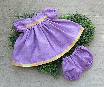 """Handmade Doll Clothes for 18"""" - 20"""" Baby Dolls - """"Play Date"""" Purple Dress Set"""