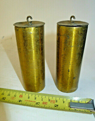 Antique/Vintage pair of double brass clock weights for Vienna/Wall 1.287kgs