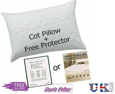 Quilted Cot Pillow Baby Comfort Nursery Junior Toddler Bedding + Free Protector