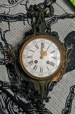TIFFANY & CO FRENCH CLARTEL WALL CLOCK Porcelain Face Bronze ANTIQUE Dated 1900!