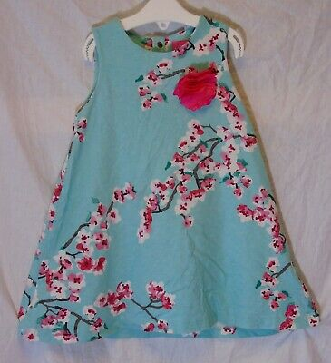 Girls Joules Aqua Green Pink Cherry Blossom 3D Sleeveless Dress Age 2-3 Years