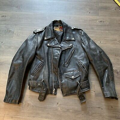Perfecto by Schott Bros Vintage 1970s Black Distressed Leather Jacket Size 40