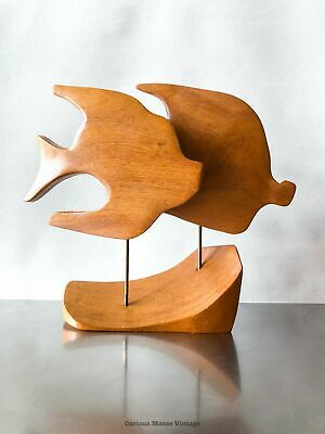Mid Century Modern Teak Wood Kinetic Angel Fish Sculpture.