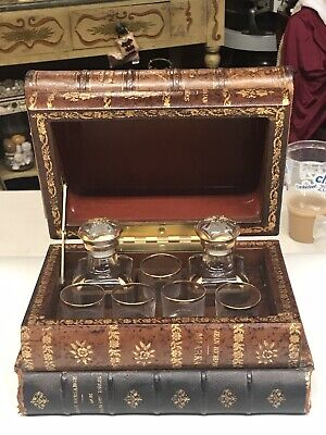 Antique French Tantalus 2 Glass Decanters 5 Shot Glasses Leather Bound Book Form