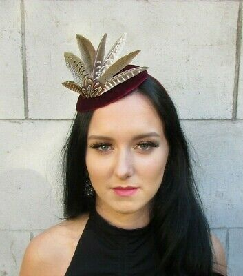 Burgundy Wine Red Brown Feather Pillbox Hat Fascinator Races 1940s Style 7699