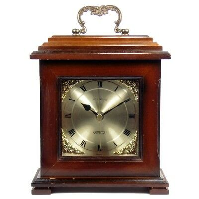 Vintage Antique Bracket Style Wooden Cased Mantel Clock with Mahogany Finish