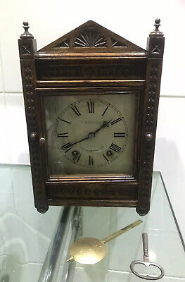 Antique German W & H Carved Oak 8 Day Gong Striking Bracket Clock