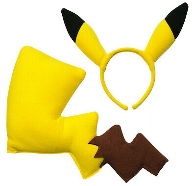 Pikachu 2pc Accessory Kit Ears & Tail Pokemon Go Yellow Mouse Electric Cosplay