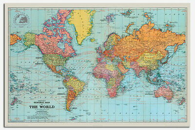 88723 Retro General Map Of The World Decor LAMINATED POSTER AU