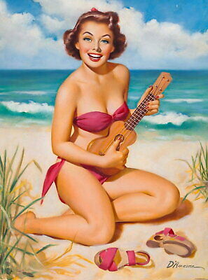 96121 1940s Pin-Up Girl Ukulele on the Beach Pin Up Decor LAMINATED POSTER AU