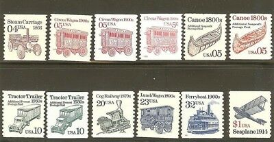 US Scott # 2451 - 2468 Transportation Coils MNH