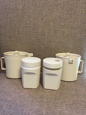 Tupperware Almond Creamer and Sugar Bowl Set & Matching Salt and Pepper Shakers