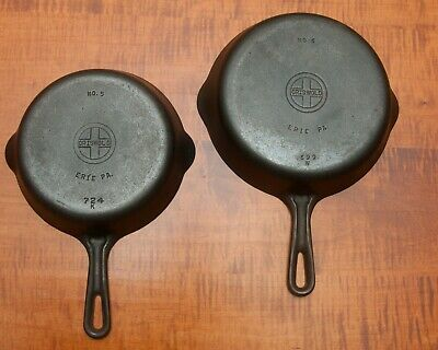 Griswold #.5 & 6  Cast Iron Skillet Small Logo Smooth Bottom P/N 724.And 699