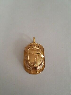 14k Yellow Gold Scarab Beetle Necklace Pendant Hieroglyphics