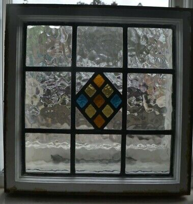 526 x 528mm. Leaded light stained glass window sash small flemish. R954f