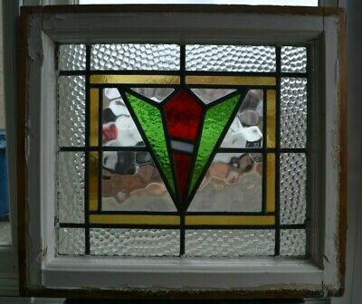 Art deco leaded light stained glass window sash fanlight. R695