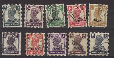 1942/44 India Patiala Opt 8 Values to 8 Annas Fine Used Bet SG103/114