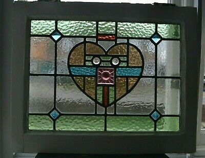 Leaded light stained glass window sash fanlight or suncatcher. R955e (i)