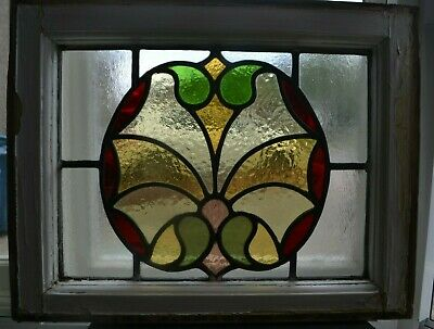 Leaded light stained glass window panel sash fanlight or suncatcher. R957b