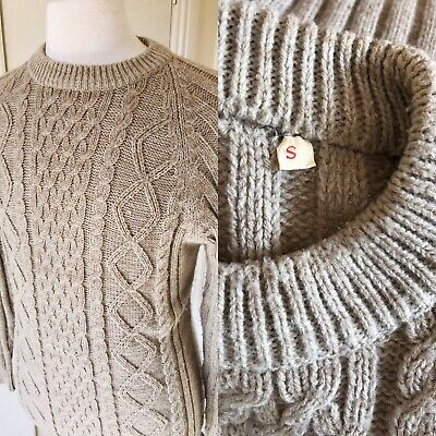 "Vintage Fisherman Vintage Cable Aran Knit Jumper  Chest 40"" Chunky Beige Wool S"