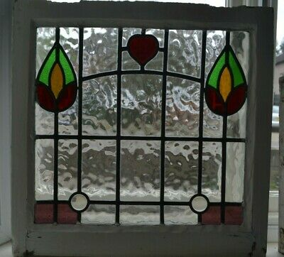 Leaded light stained glass window sash fanlight suncatcher. R766d.