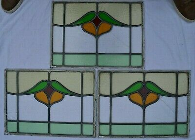3 leaded light stained glass window panels sash fanlights or suncatchers. B961