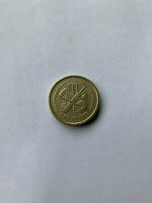 1998 Isle of Man £1 One 1 Pound Coin Cricket Stumps