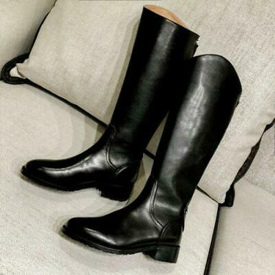 British Women's Black Knee High Riding Boots Real Leather Chunky Low Heel Shoes