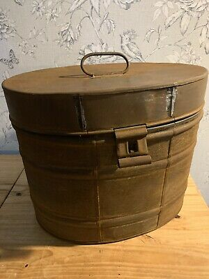 Antique Large Victorian Metal Tin Hat Box