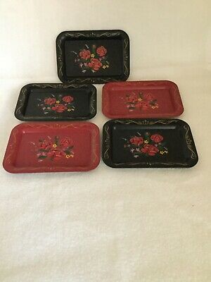 Vintage (5) Toleware Metal Tray Hand Painted Tole Black Floral Rose Shabby Chic
