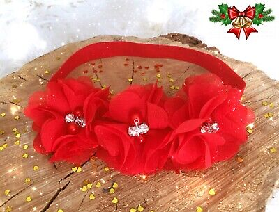 Christmas Xmas Baby Girl Headband Hairband Red Chiffon Flowers Rhinestones Pearl