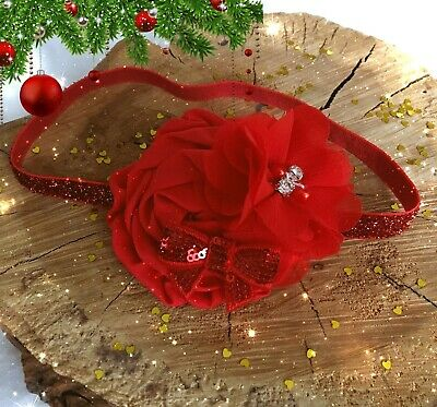 Christmas Xmas Baby Girl Headband Hairband Red Satin Flower Sequin Bow Chiffon