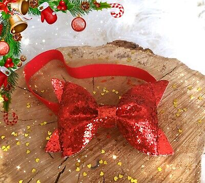 Christmas Xmas Baby Girl Headband Hairband Red Glitter Bow Party Hairband