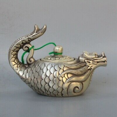 Chinese Collectable Handwork Old Miao Silver Carve Dragon Goldfish Tibet Tea Pot