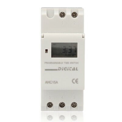 AC 220V 16A Digital LCD DIN Programmable Weekly Rail Timer Time Relay Switch MJ