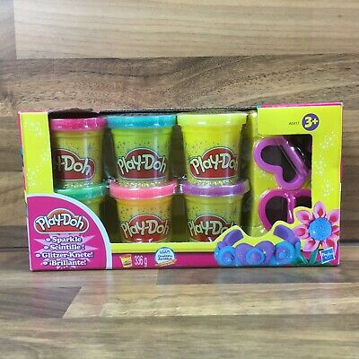 Play Doh Sparkle Compound 6 Colours 2 Cutters Modeling Collection Glitter Fun