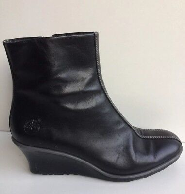 Timberland Black Leather Low Wedge Heel Ankle Boots 4.5 37.5