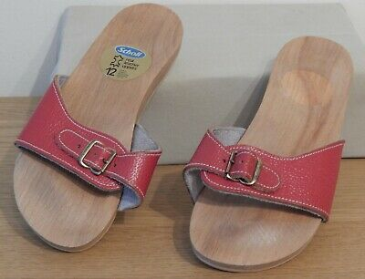 Vintage Size 12 Scholl Mules Red Leather Retro Pristine Buckle