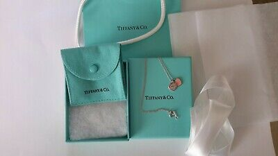 Tiffany & Co double mini hearts necklace return to Tiffany pink heart,superb