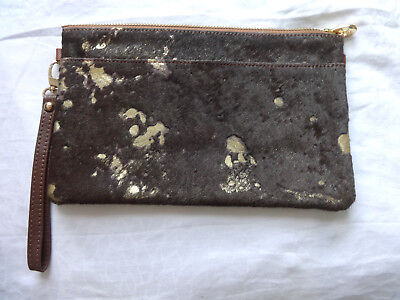 Pony Skin / Cow Hide Clutch Bag Brown and Gold