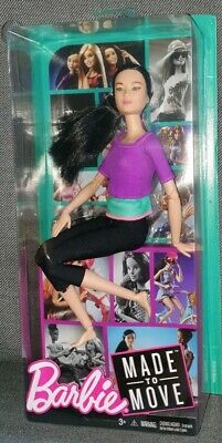 Barbie Made To Move Doll Pale Skin Asian Black Hair Purple Top Endless Moves New