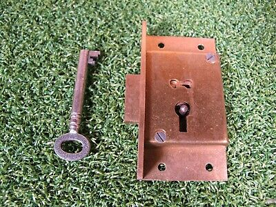"Vintage 3"" x 1 5/8"" Solid Brass Secure 4 lever Cupboard ~ Cabinet Locks with key"