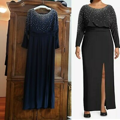Betsy & Adam embellished midnight blue formal gown