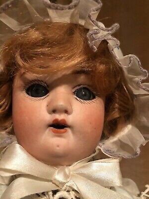 "Huebach Hopplesforf 349 6/0, 18"" Antique Bisque Doll with eyes that close"