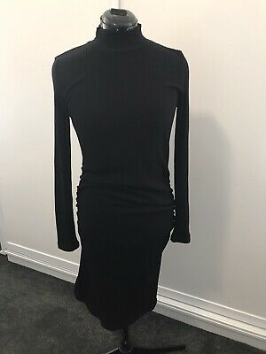 PEA IN THE POD Maternity Black Ribbed Dress Size 14